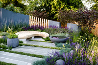Healing Urban Garden; view of a modern patio with wooden bench and circular concrete water feature (pond),  amongst  Festuca glauca (blue fescue grass) Thymes, Lavandula, Nepeta. - Designer: Rae Wilki
